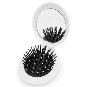 eBuyGB Folding Travel Hair Brush with Compact Makeup Mirror (White)